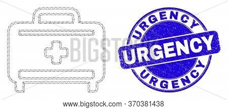 Web Mesh Medical Baggage Pictogram And Urgency Watermark. Blue Vector Round Distress Watermark With