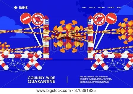 Epidemic Quarantine Concept Landing Page Banner. Vector Scene With Border Post And Barbwire Blocks.