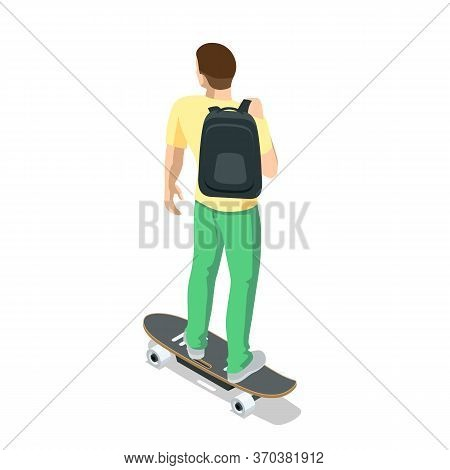 Isometric Skateboard Or Longboard Isolated On White. Man Skateboarding. Sporty Woman Riding On The S