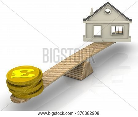 Real Estate Appraisal In Pound Sterling. The Money (golden Coins With The Symbol Of The The Pound St
