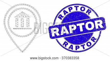 Web Mesh Museum Map Marker Pictogram And Raptor Stamp. Blue Vector Rounded Textured Stamp With Rapto