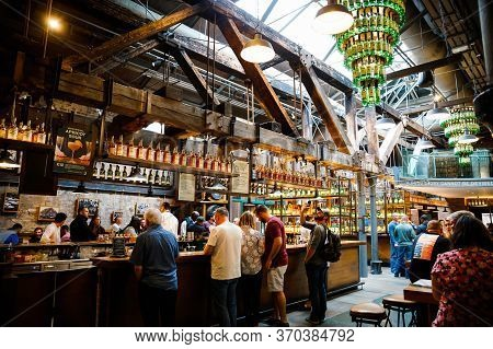 Dublin, Ireland - July 2, 2019: Interior And Bar Of Old Jameson Distillery, Smithfield Square In Dub
