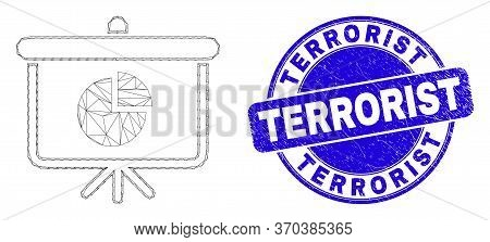 Web Carcass Pie Chart Demonstration Board Icon And Terrorist Seal Stamp. Blue Vector Round Scratched