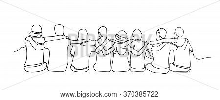 A Group Of Men And Women Sitting Together Have Their Friendship - One Line Drawing. Single Continuou