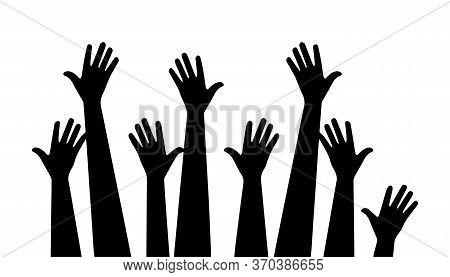 Up Hand Background Vector Illustration. Hands Raised Up. Flat Design Style. Vector Illustration. Rai