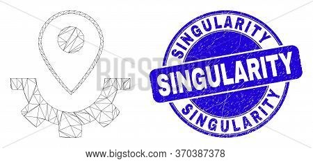 Web Mesh Service Map Marker Icon And Singularity Seal. Blue Vector Round Textured Seal Stamp With Si
