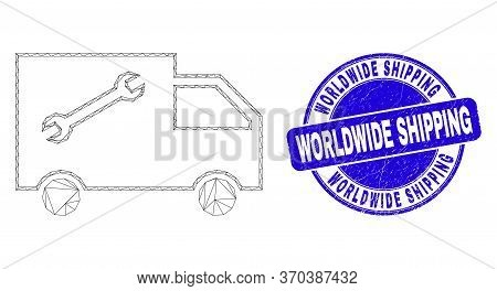 Web Mesh Service Van Icon And Worldwide Shipping Stamp. Blue Vector Rounded Grunge Seal Stamp With W