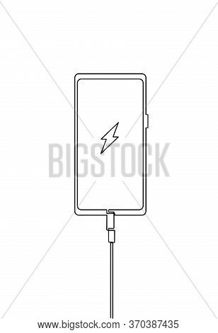 Icon Battery In The Phone Is Charging. Smartphone Charging Cable Usb Vector. Mobile Symbol Continuou