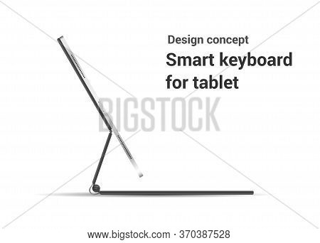Modern Tablet Computer Stand With Blank Screen Isolated On White Background - Side View. Vector Illu