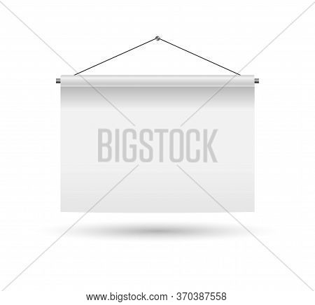 Hanging Empty Billboard Or Banner. Vector Illustration. Blank Board Hanging On The White Wall. Illus