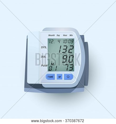 Blood Pressure Counter. Vector Image Of An Electronic Device With A Cuff Placed Around The Shoulder.