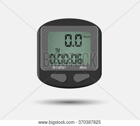 Vector Bicycle Speedometer Computer. Bike Speedometer Icon. Flat Illustration Of Bike Speedometer Ve