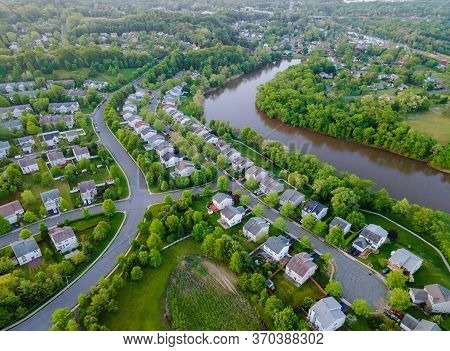 Aerial View Over Showing Neighborhood Family Private Houses Nj Usa