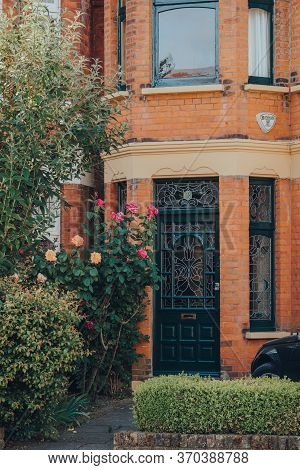London, Uk - May 26, 2020: Black Stained Glass Front Door Of An Edwardian House In London, Selective