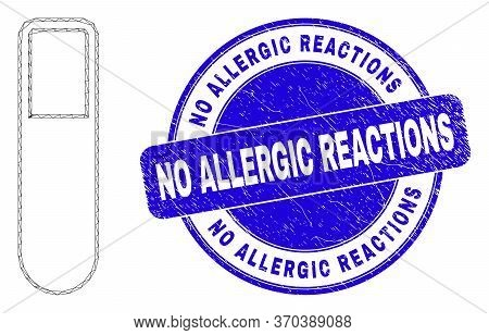 Web Mesh Test-tube Icon And No Allergic Reactions Seal Stamp. Blue Vector Rounded Scratched Stamp Wi