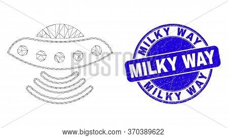Web Carcass Ufo Pictogram And Milky Way Watermark. Blue Vector Round Scratched Watermark With Milky