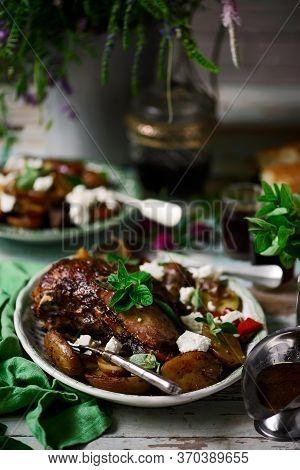 Slow Cooked Greek Lamb With Lemon Garlic Potatoes Lamb Kleftiko..style Rustic.selective Focus
