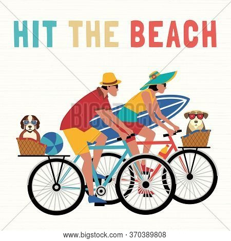 Time For Adventure Cute Comic Cartoon. Colorful Humor Retro Style Illustration. Bicycling Travel Wit