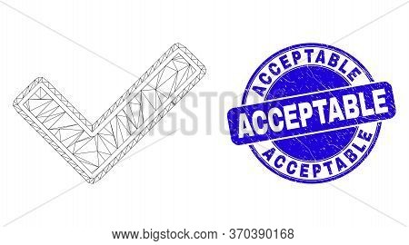 Web Mesh Validated Tick Icon And Acceptable Seal Stamp. Blue Vector Rounded Scratched Seal Stamp Wit