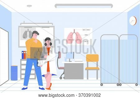 Smoking Unhealthy Lungs Cancer Flat Composition With Clinic Scenery And Doctor Showing Xray Film To