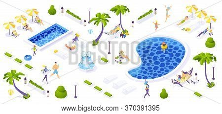 Beach Resort Concept 3d Isometric Scene. Tropical Palms, Pools, Loungers And Greenery With Relaxed P