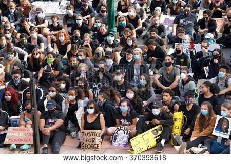 Alameda, Ca - June 5, 2020: Protestors Participating In  The George Floyd Black Lives Matter Protest