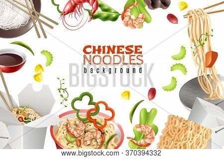 Chinese Noodles Dishes With Shrimps Paprika Pea Pods Sauce Realistic Asian Food White Background Fra