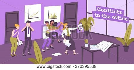 Work Conflict Flat Composition Of Text And Office Indoor Scenery With Human Characters Of Conflictin
