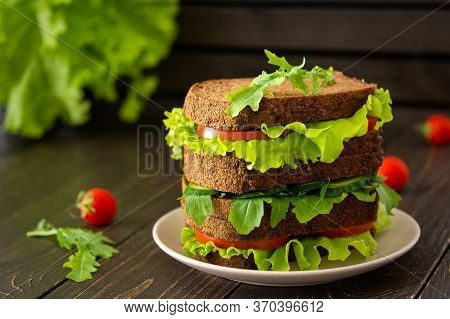 Sandwiches With Lettuce And Arugula, Tomato And Cucumber, Vegan Sandwiches Of Coarse Dark Bread With