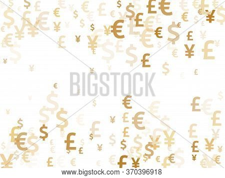 Euro Dollar Pound Yen Gold Icons Scatter Money Vector Illustration. Business Pattern. Currency Token