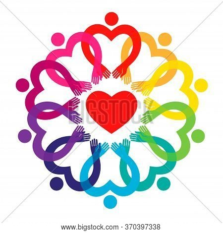 People Around A Heart. Concept Of Solidarity, Love And Peace.