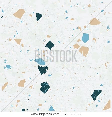 Tile Terrazzo Vector Pattern With Colorful Stone On Grey Marble Background For Seamless Concrete Roc