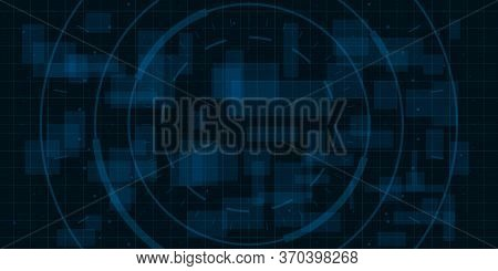 Hud Dark Blue Background With Thin Grid, Dots And Circle Element. Design For Science Theme, Artifica