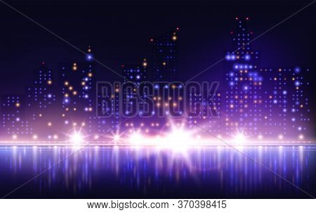 Night City Lights Composition With River Embankment Scenery And Reflections With Tall Houses And Glo