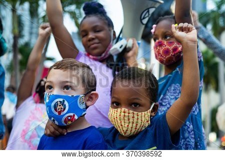 Miami, Fl, Usa - June 7, 2020: White And Black Boys Together. Friends. Anti Racism Demonstration. Ch