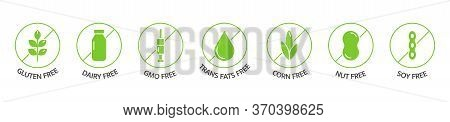 Organic Food And Drink Labels. Food Dietary. Product Free Allergen Line Icons. Natural Products Gree