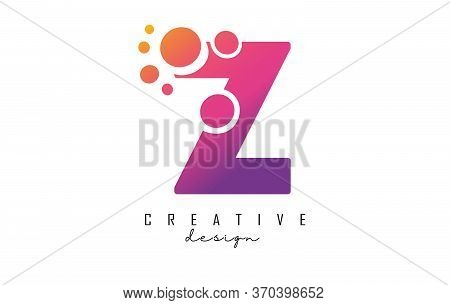 Z Letter Logo With Blue Dots Design. Letter Z Logotype With Bubbles Bunch. Corporate Branding Identi