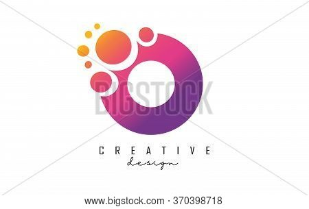 O Letter Logo With Blue Dots Design. Letter O Logotype With Bubbles Bunch. Corporate Branding Identi