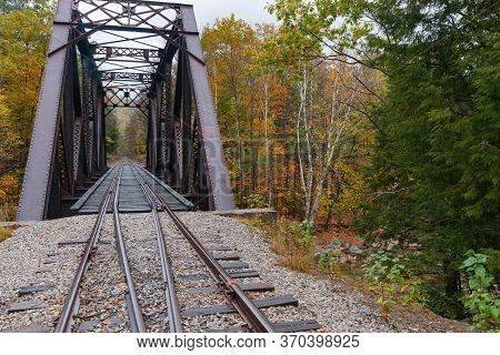Steel Truss Railway Bridge Across Sawyer River At Bears Notch On Kancamagus Highway, New Hampshire U