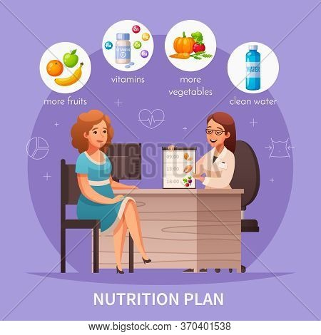 Nutritionist Recommendations Cartoon Composition With Dietitian Appointment Healthy Meal Fruit Veget