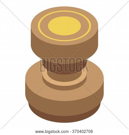 Notary Wood Seal Icon. Isometric Of Notary Wood Seal Vector Icon For Web Design Isolated On White Ba