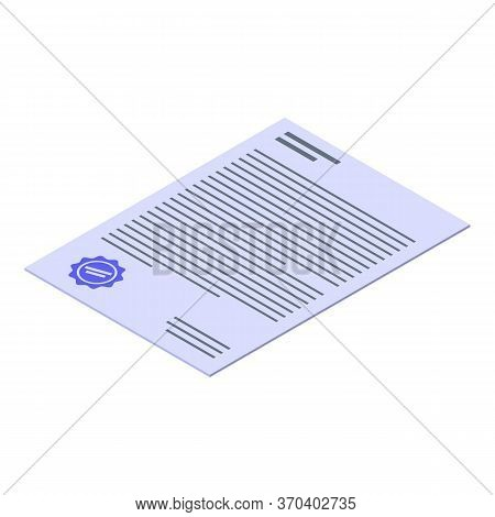 Notary Document Icon. Isometric Of Notary Document Vector Icon For Web Design Isolated On White Back