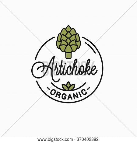 Artichoke Flower Logo. Round Linear Of Artichoke