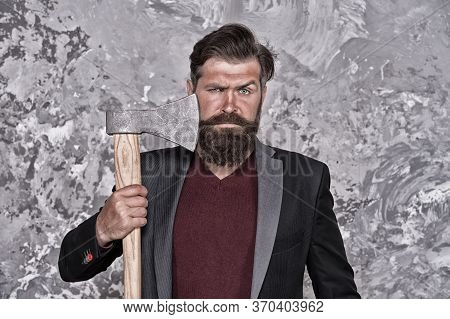 Fearless And Brave. Brutal Shaving. Barbershop. No Fear. Brutal Business. Man With Axe. Bearded Man