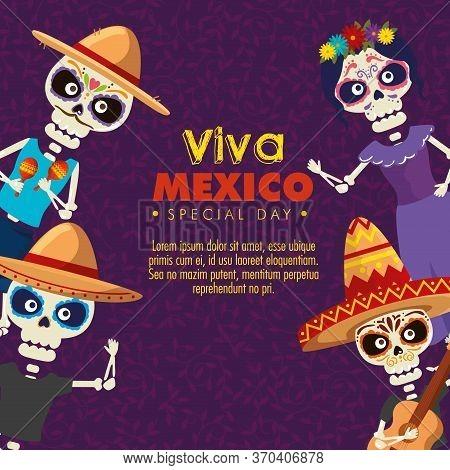 Skeletons Men Wearing Hat With Catrina To Celebration Event Vector Illustration