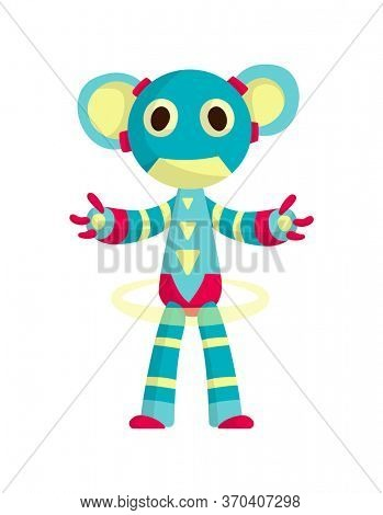 Funny cartoon robot. Cute retro robot. Robotic for children. Friendly android robot character with arms. Toy character future artificial robotics machine cyborg illustration