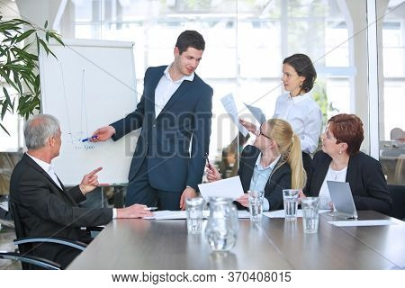 Group of business people at business meeting in conference room