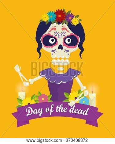 Catrina With Skull Decoration And Flowers To Day Of The Dead Event Vector Illustration