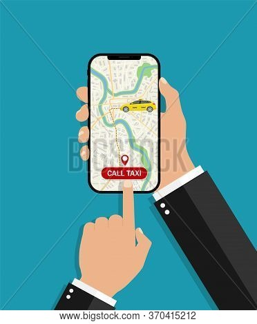 Hand Hold Phone With App Uber Taxi. Online Booking Car In Service Taxi For Delivery. Using Gps Map I