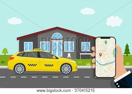 Uber Delivery. App Of Call Taxi. Car Gps Map Of City. Smart Navigator With Roadmap In Mobile. Servic